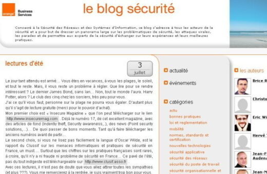 Lancement du blog de la sécurité d'Orange Business Services