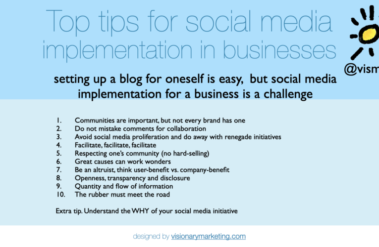 My top 10 tips for social media implementation within businesses