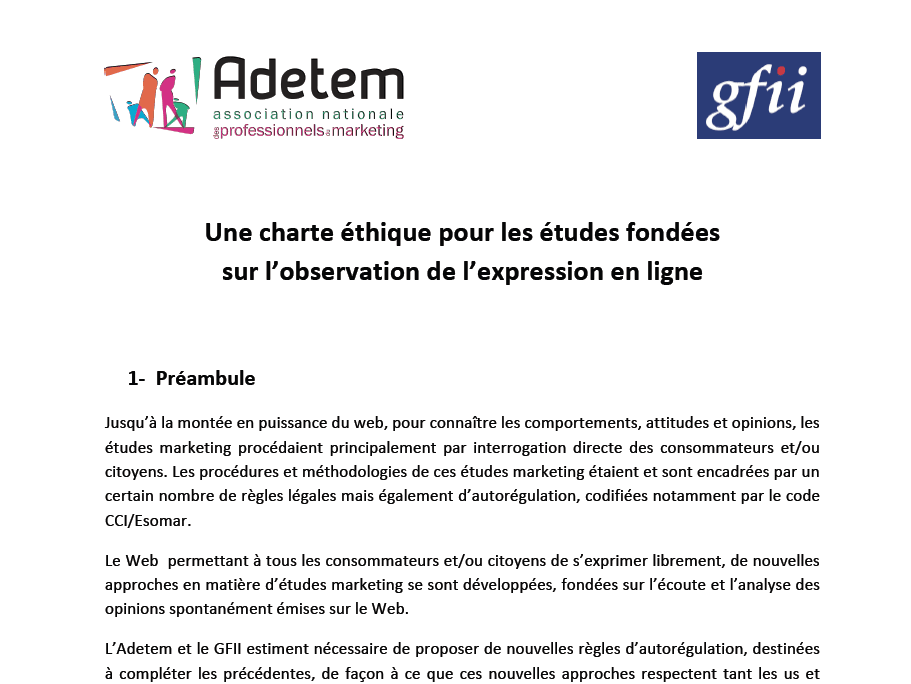 la charte de l'Adetem et du GFII