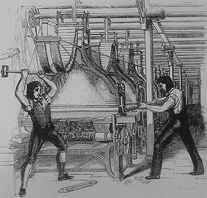 Luddite cassant une machine