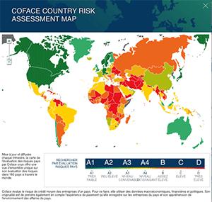 carte dynamique du risque pays - site coface.com