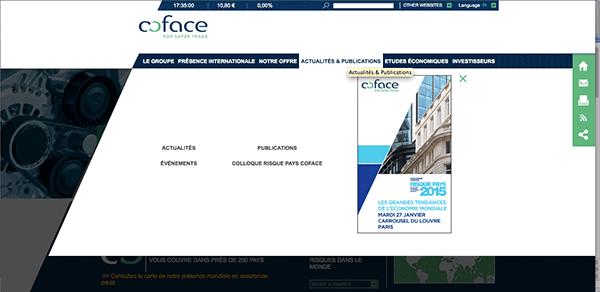 présence digitale : menu déroulant du site coface