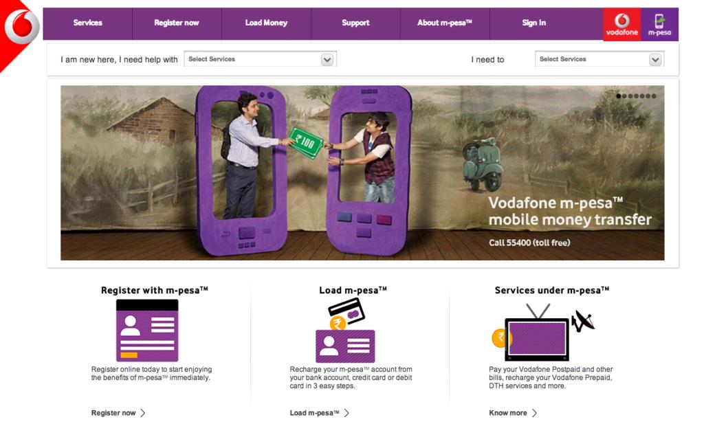Site internet de MPesa de Vodafone, connaissant un vif succès au Kenya