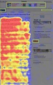 Test eye-tracking : lors de la lecture de la page, l'internaute évite instinctivement les espaces publicitaires