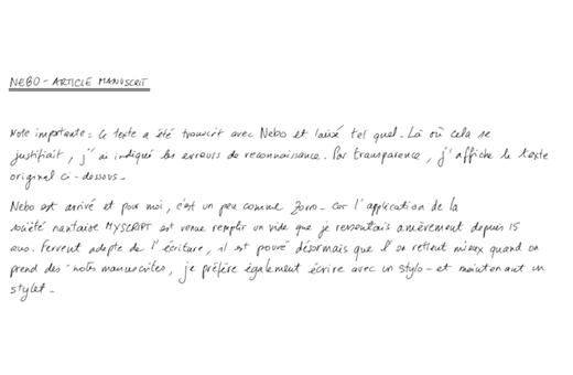 Avec Nebo l'écriture manuscrite trouve son second souffle