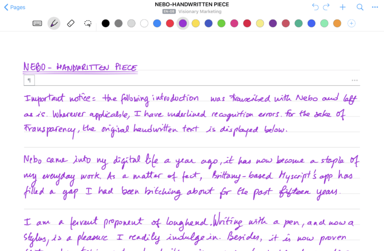 Handwriting recognition gets a second wind with Nebo
