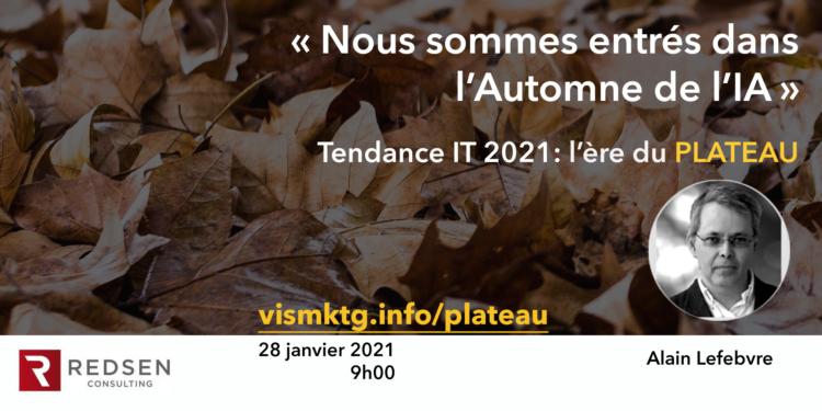 Alain Lefebvre animera un webinaire sur les tendances de l'IT en 2021. Au coeur de ses prévisions, l'IA, qui semble-t-il est entrée dans un nouvel Automne